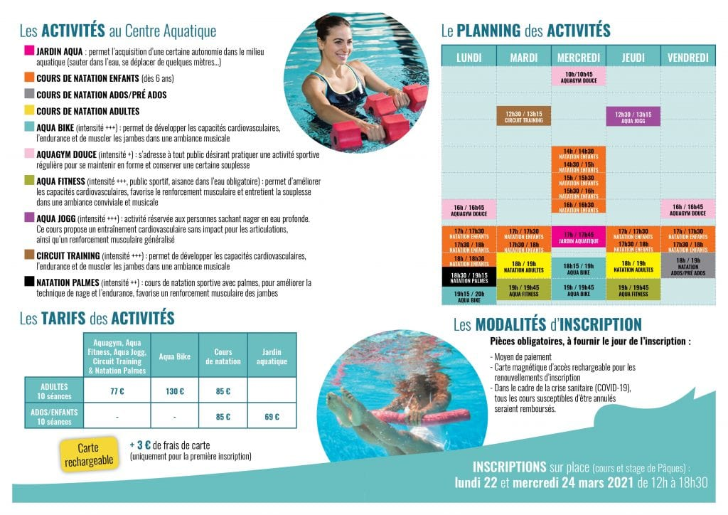 Activités printemps 2021 centre aquatique La Plaine Tonique